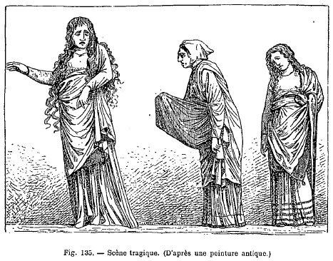 La figure 135 se rapporte à une pièce perdue, ou du moins on ne peut la  rattacher à aucune scène connue du théâtre antique. Les trois personnages  ici